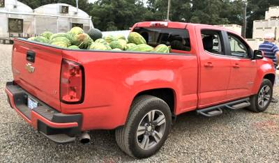 Pickup truck loaded with watermelons