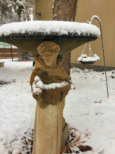 snow on a stature