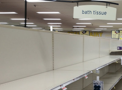 Empty Toilet Paper Aisle in Supermarket